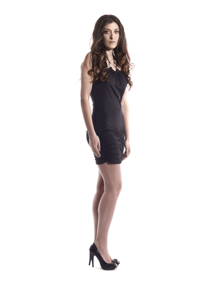 Black Halter Dress-Crystal Horseshoe Embellishment.