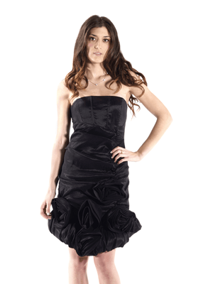 Black Strapless Cocktail Dress -  Flowers Ruffles  Accents.