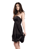 Black strapless dress with circular accents 2