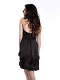 Black strapless dress with circular accents 3