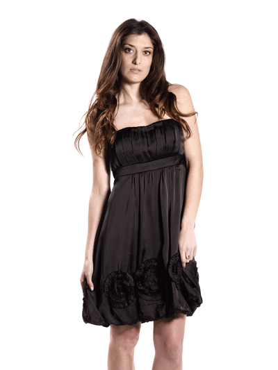 Black Strapless Dress -Embroidered Circular Accents.