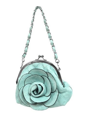 Light Blue Rose Clutch Bag.