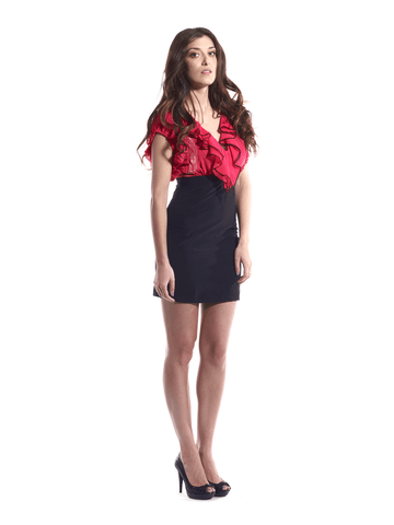Dress Black Fuchsia Ivory White