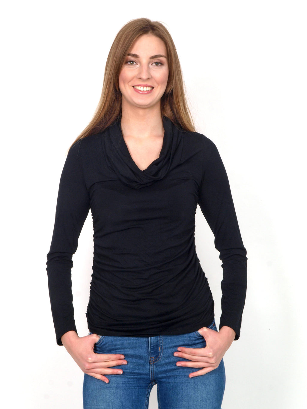 Black long sleeve T-shirt with fall collar