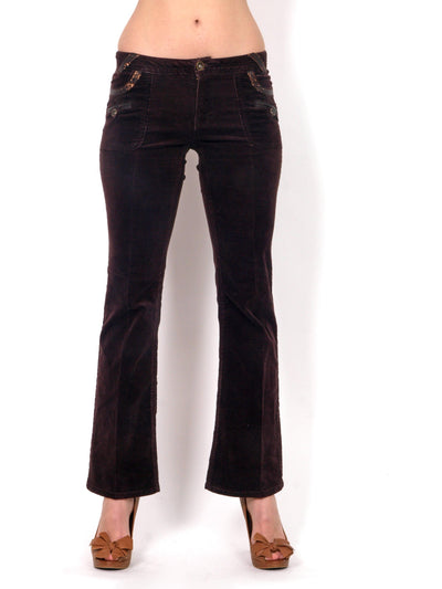 Low-waisted brown pants.