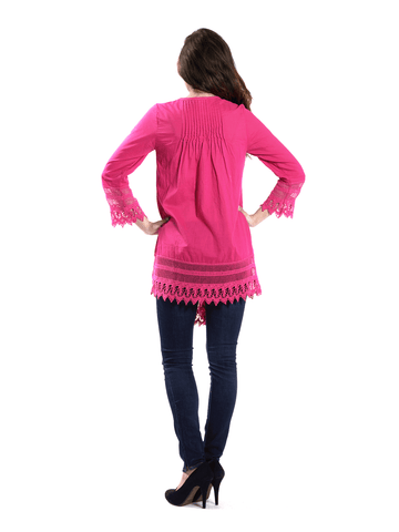 Pink Top with Crochet Detail.
