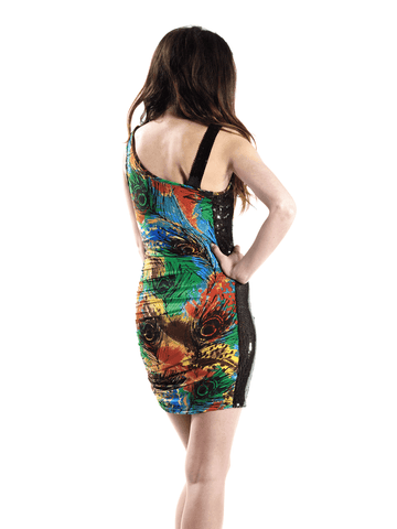 Print dress with black sequins 2