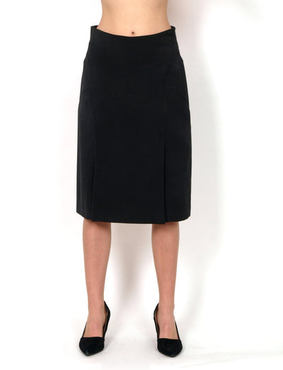 Straight cut black skirt.