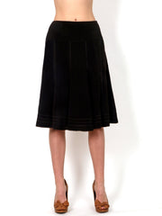 A sophisticated black A-line skirt