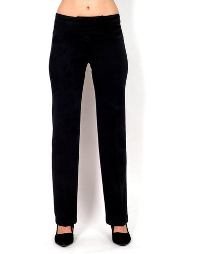 Straight-cut black long pants.
