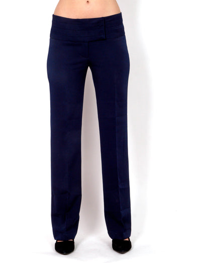 Dark blue straight pants.