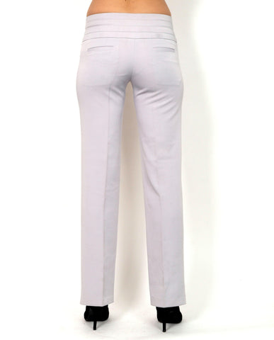 Gray long pants with a straight cut.