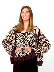 Set 3 pieces  trousers top jacket zebra.