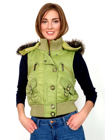 Warm green vest with faux fur.