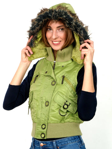 Warm green vest with faux fur