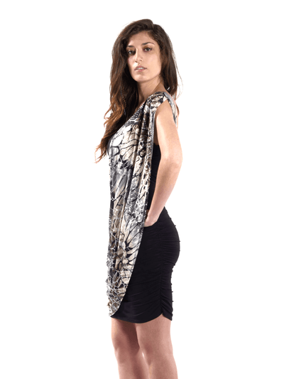 Strapless Dress with Printed Drape.