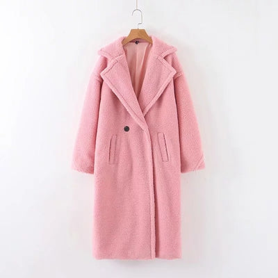 Faux fur coat long red white pink fur coat female vintage fur collar  shaggy fur coats