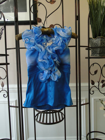 Ruffled Halter Top - front blue