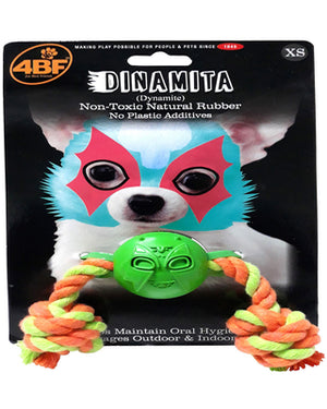 4BF Rubber Mask Ball With Rope Dog Toy