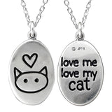 Sterling Silver Oval Love Me, Love My Cat Necklace
