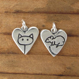 Sterling Silver Cat & Mouse Heart Necklace