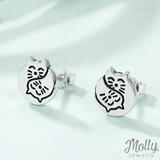 Cute Cuddle Silver Earrings