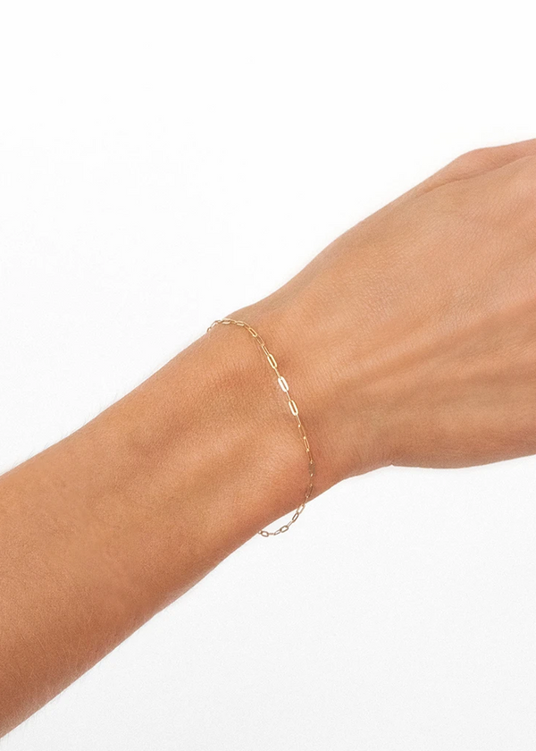 Flat Drawn Cable Bracelet | 10k Gold