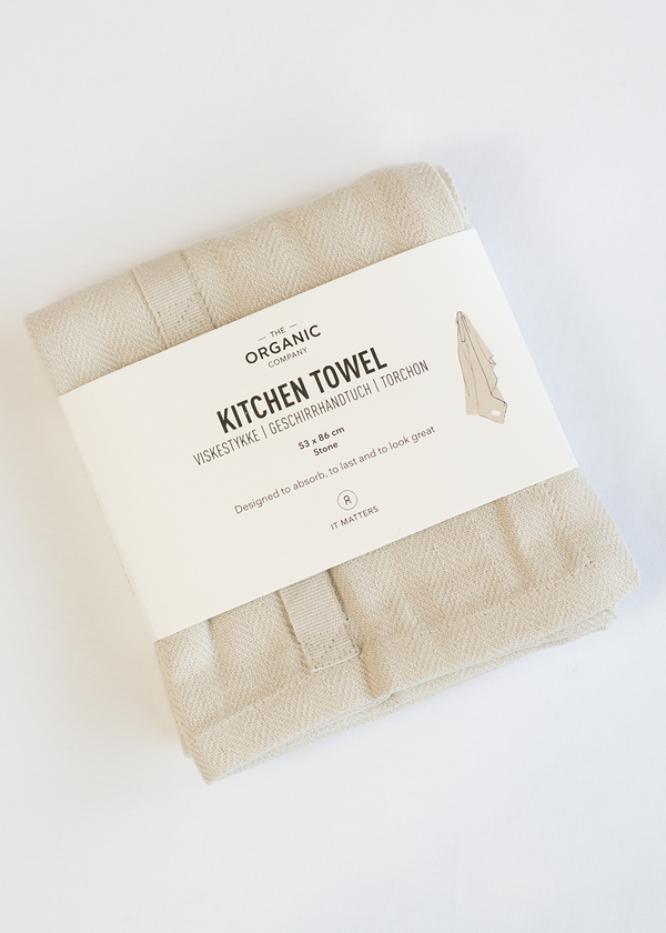 The Organic Company Kitchen Towel White Stone