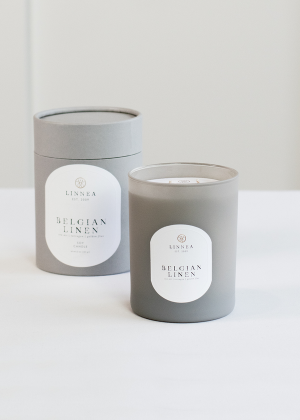 Linnea's Lights Belgian Linen Double Wick Candle
