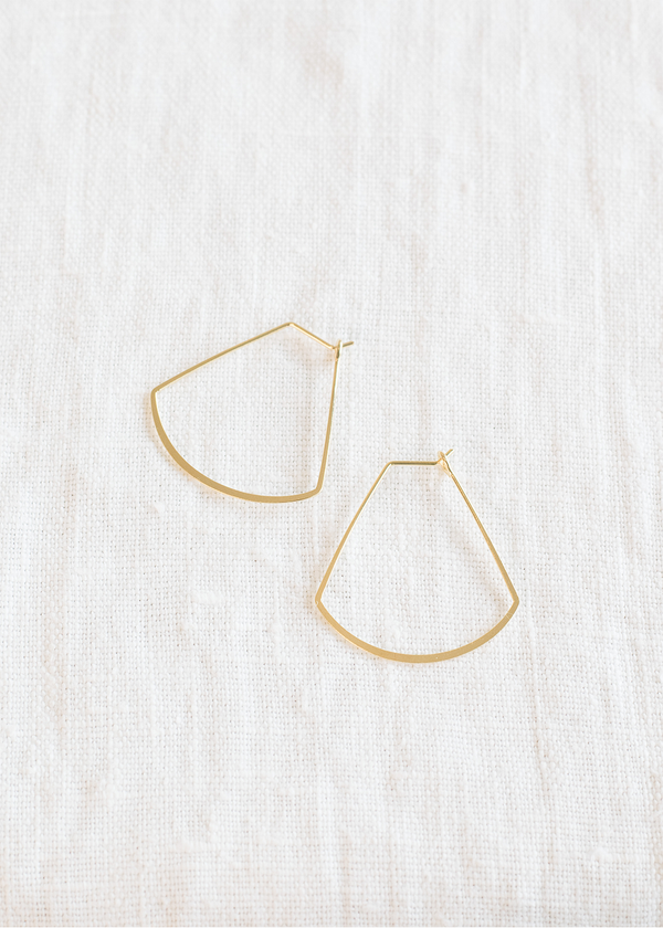 Women's Small Geo Teardrop Hoop - Gold