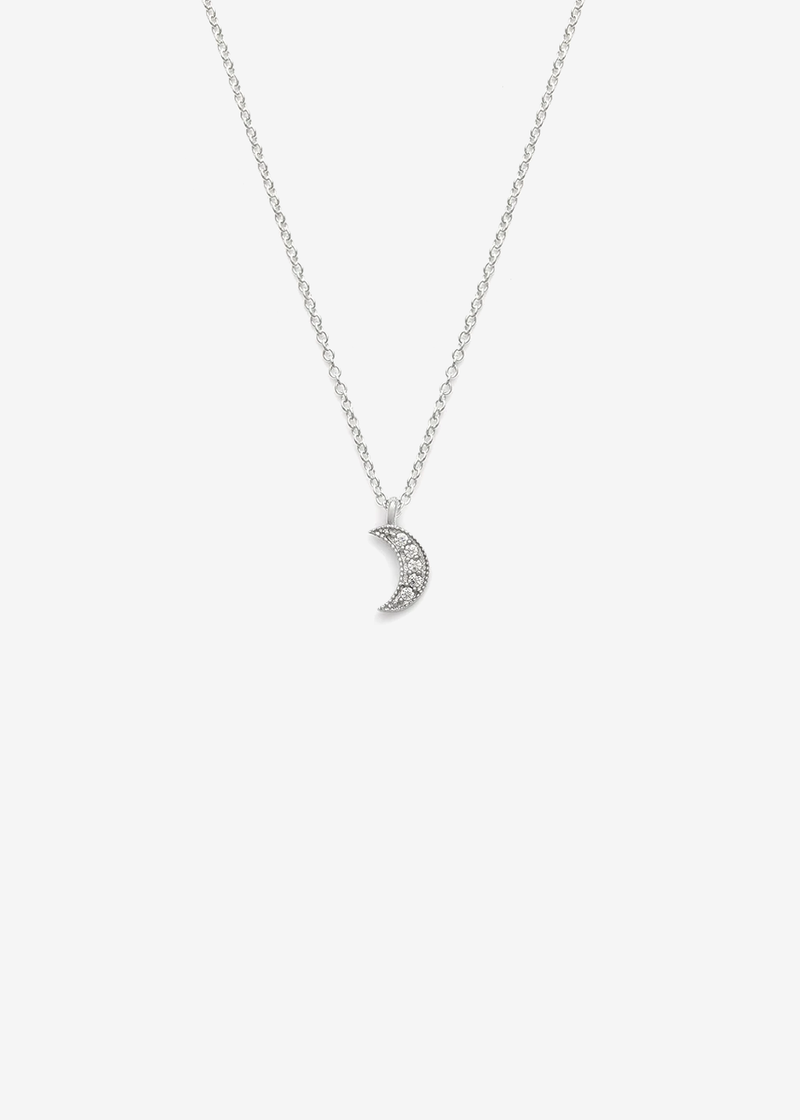 Leah Alexandra Silver Luna Crescent Moon Necklace