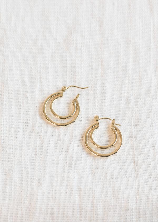 Women's Gold Double Hoop Earring