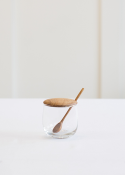 Be Home Teak Lid Glass Jar & Spoon
