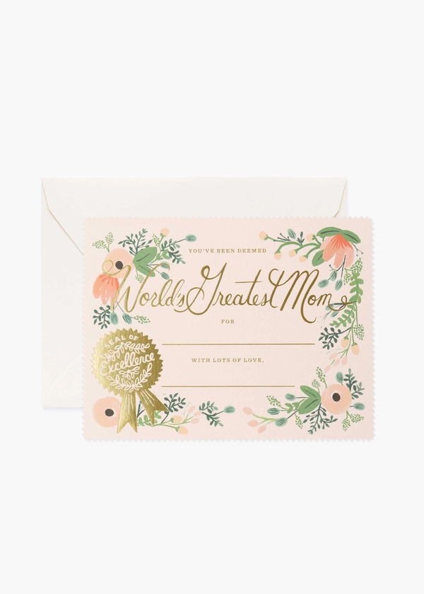 Rifle Paper Greatest Mom Certificate Card