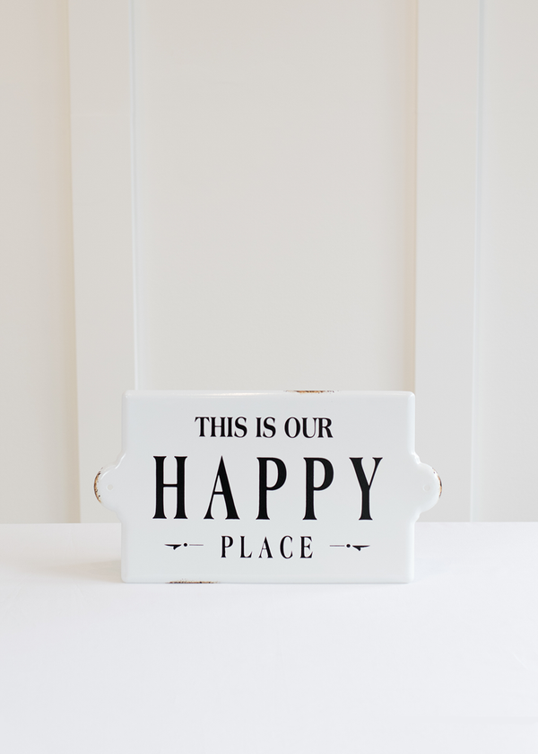 "Creative Coop ""Happy Place"" Enameled Wall Decor"