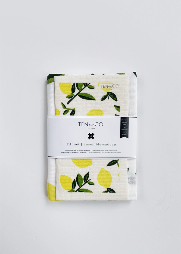 Ten & CO. Citrus Lemon Sponge Cloth & Tea Towel Set
