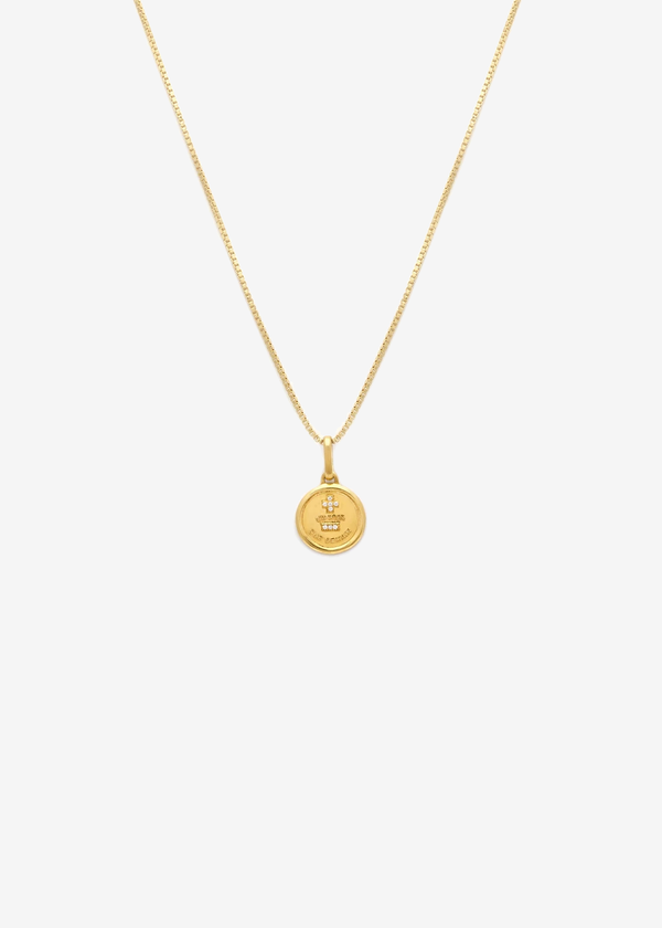 Leah Alexandra Love Token Necklace Round | Gold