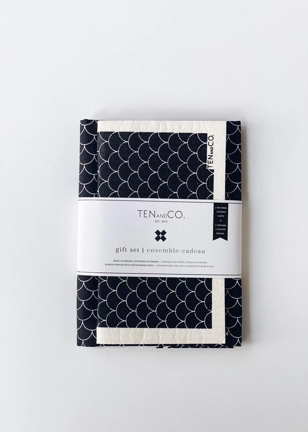 Ten & Co. Scallop Sponge Cloth & Tea Towel Gift Set