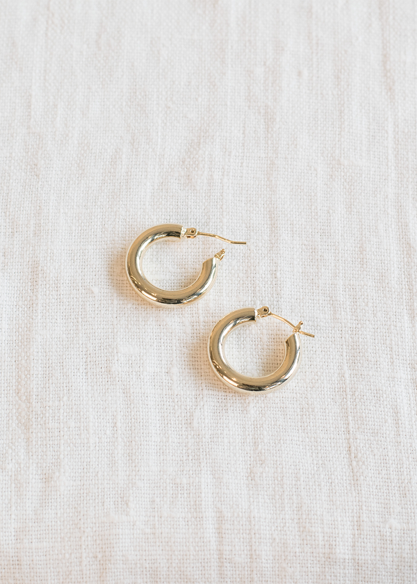 Women's Simple  Gold Tube Hoop Earring