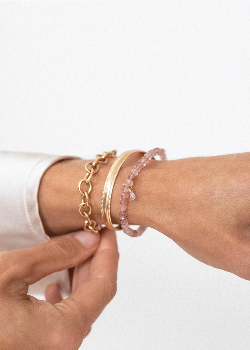Leah Alexandra Social Mini Bracelet | Strawberry Quartz