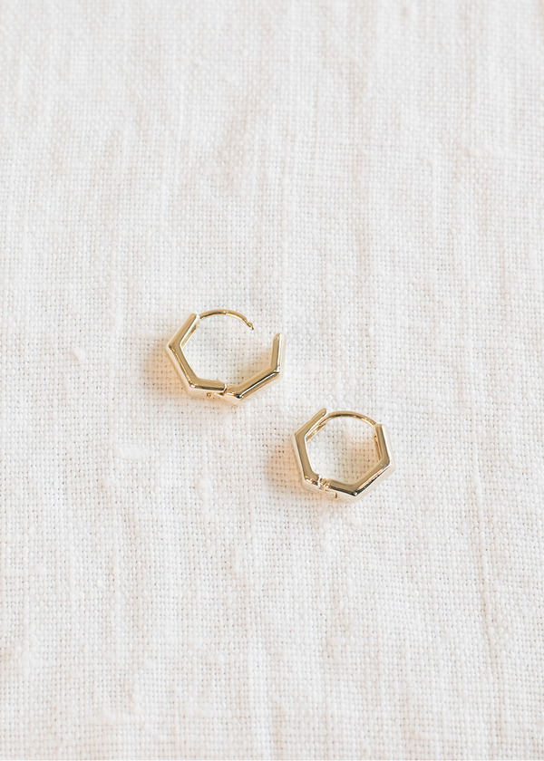 Women's thick hexagon gold hoops