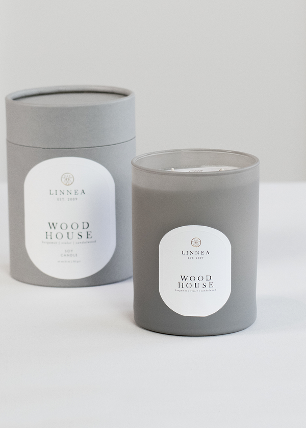 Linnea's Lights Wood House Double Wick Candle
