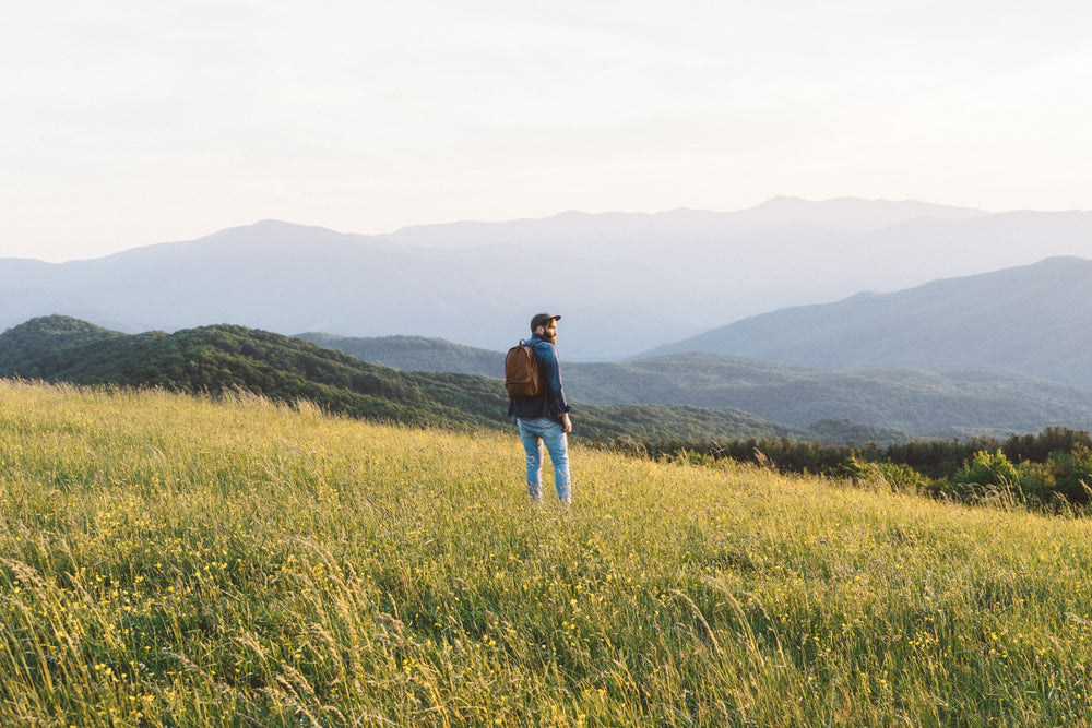 Man in field, mountains and nature