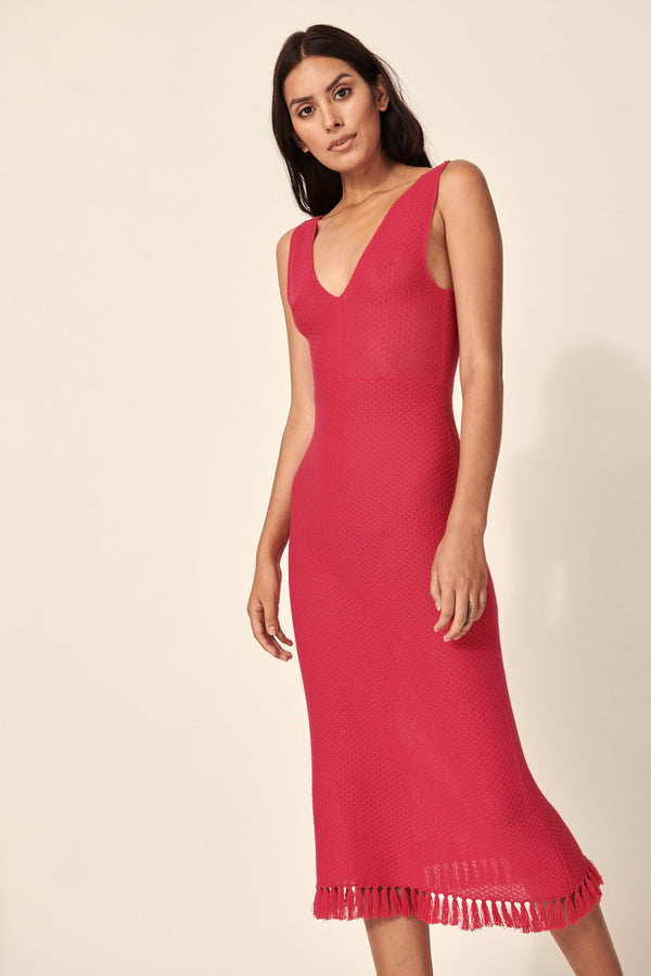 OMARA MIDI KNIT DRESS HOT PINK