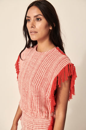 PERSEA HANDWOVEN TOP RED