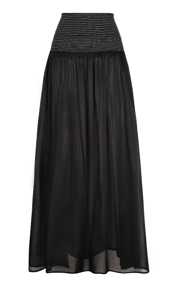 MORGAN MAXI COTTON SKIRT BLACK