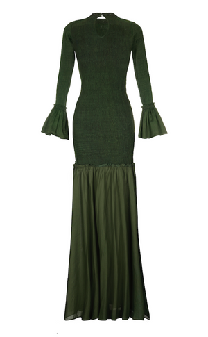 TSUMA SMOCKED MAXI COTTON DRESS GREEN