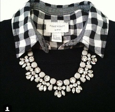 Collared Shirt with Necklace