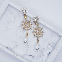 Load image into Gallery viewer, Maree Earrings - Drop Pearls with Gold Accents