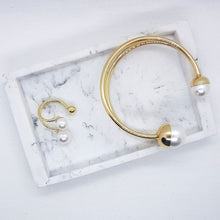 Load image into Gallery viewer, Grace Bangle - Pearls with Gold Accents